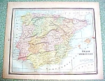 Antique Map Spain Portugal France 1894