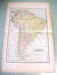 Antique Map South America 1894 Large Foldout