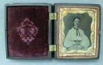 Click here to enlarge image and see more about item GE1168: Daguerreotype Young Lady Civil War Era Ornate Case