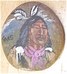 Click here to enlarge image and see more about item GE1445: Native American Hand Painted Stone Signed