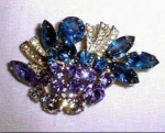 Blue Rhinestone Brooch Pin