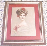 Print Lady with Red Flowers 1910 Gibson Girl Style