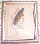 Click here to enlarge image and see more about item GEART278: Print Lady with Blue Hat 1910 Gibson Girl Style