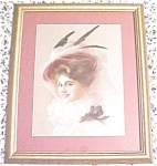 Click here to enlarge image and see more about item GEART296: Print Lady with Veiled Hat 1910 Gibson Girl Style