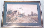 Click here to enlarge image and see more about item GEART376: Cottage Watercolor Painting Country Road Framed