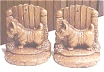 Click here to enlarge image and see more about item GEG1027: Scotty Dog Bookends Syroco Wood Vintage