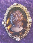 Large Cameo Brooch Pin + Rhinestones