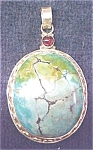 Click here to enlarge image and see more about item GEJEWEL164: Pendant Sterling Silver Turquoise Cabochon Garnet