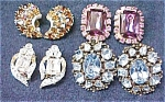 Click here to enlarge image and see more about item GEJEWEL189: Earring Collection Vintage Rhinestones Signed