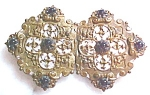 Click here to enlarge image and see more about item GEJEWEL384: Belt Buckle Victorian Ladies 2 PC Amethyst Ornate