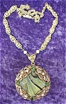 Click here to enlarge image and see more about item GEJEWEL55: Ornate Glass Pendant Filigree Pearls Germany