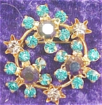 Click here to enlarge image and see more about item GEJEWEL64: Rhinestone Brooch Pin Purple Lavendar Green
