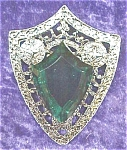 Click here to enlarge image and see more about item GEJEWEL68: Ornate Brooch Pin Large Green Stone Shield