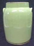 Click here to enlarge image and see more about item GLASS1253: Green Crock Preserving Jar Great Color