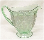 Click here to enlarge image and see more about item GLASS3177: Green Depression Glass Creamer Ornate Silver