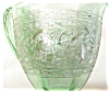 Click to view larger image of Green Depression Glass Creamer Ornate Silver (Image4)