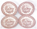 Click here to enlarge image and see more about item GLASS3619A: Grindley Bread Plates Red Transferware 4 PC