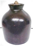 Click here to enlarge image and see more about item GLASS3670: Stoneware Crock Jug Dark Chocolate With Lid