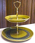 Click to view larger image of California Pottery Tidbit Snack Tray 2 Tier Green (Image1)