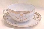 Click here to enlarge image and see more about item GLASS3975: Teacup & Saucer Hand Painted 1920-30's Arts & Crafts