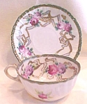 Click to view larger image of Teacup & Saucer Hand Ptd Roses Pre WWII (Image1)