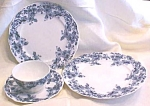 Click here to enlarge image and see more about item GLASS3985: Teacup Saucer Luncheon & Dinner Plate Blue Transferware