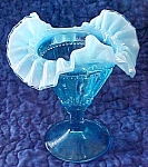 Click here to enlarge image and see more about item GLASS4108: Fenton Compote Threaded Diamond Blue