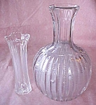 Click here to enlarge image and see more about item GLASS4244: Pressed Glass Water Bottle & Vase