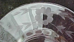 Click here to enlarge image and see more about item GLASS4280: Cut Glass Saucers (4) Floral & Leaf Pattern 6.2 inch