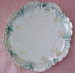 Click here to enlarge image and see more about item GLASS4302: R. S. Prussia Cake Plate White Floral Scallop Edges