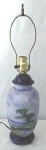 Click here to enlarge image and see more about item LIGHT30: Blue Porcelain Lamp Hand Painted Scenes Signed