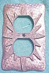 Click here to enlarge image and see more about item LIGHT935: Starburst Switchplate Ornate Pattern Two Plug 1960's