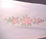 Click here to enlarge image and see more about item LINEN1008: Table Runner Floral  Embroidery Linen