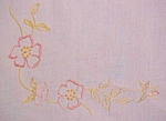 Click here to enlarge image and see more about item LINEN1018: Table Topper Floral  Embroidery Linen Leg Ties
