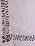 Click here to enlarge image and see more about item LINEN1031: Table Cloth Floral Embroidered Linen LaceTrim