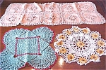 Click here to enlarge image and see more about item LINEN410: Colorful Crochet Doilies + Runner Scarf