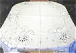 Click here to enlarge image and see more about item LINEN974: White Linen Tablecloth Embroidery Blue Flowers