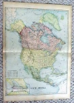 1899 Map of North America Antique