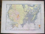 1904 Map United States America Altitude Antique