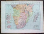 1904 Map Africa Northern And Central Southern