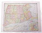 Map Massachusetts RI Connecticut NH Vermont Crams 1883