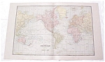 Click to view larger image of Map The World Large Fold Out Crams 1883 Antique (Image1)
