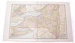 Antique Map New York Large Fold Out Crams 1883