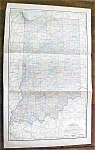 Antique Map Indiana 1901 Large Fold Out