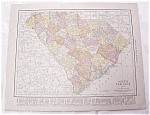 Antique Map South Carolina Georgia 1917 Rand McNally