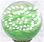 Click here to enlarge image and see more about item P136: Gentile Glass Paperweight Green Millifiore