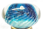 Click here to enlarge image and see more about item P152: Artist Glass Paperweight Blue Anemone