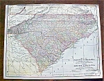 Click to view larger image of Antique Map North & South Carolina Georgia 1906 (Image1)