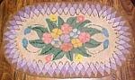 Click here to enlarge image and see more about item PRIMY120: Primitive Hooked Rug Oval Floral