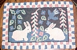 Click here to enlarge image and see more about item PRIMY124: Primitive Hooked Rug Rabbets & Birds